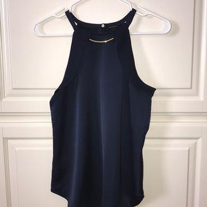 Navy Blue Silk Ann Taylor blouse